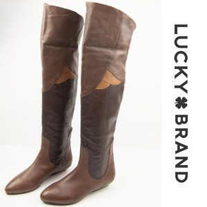 Lucky Brand Gwen Tall Over Knee Boots 6.5 Brown